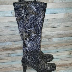 """Chinese Laundry """"Glamour"""" snake print boots."""